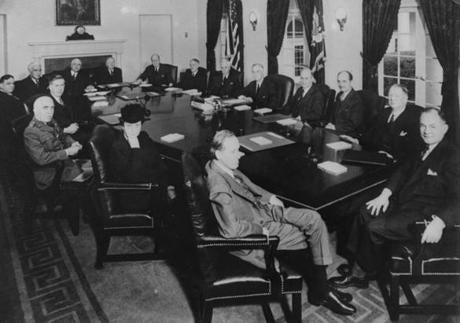 President Franklin Delano Roosevelt and his war cabinet in December 1941.